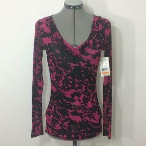 NWOT KarenKane sheer magenta/black floral shirt -S